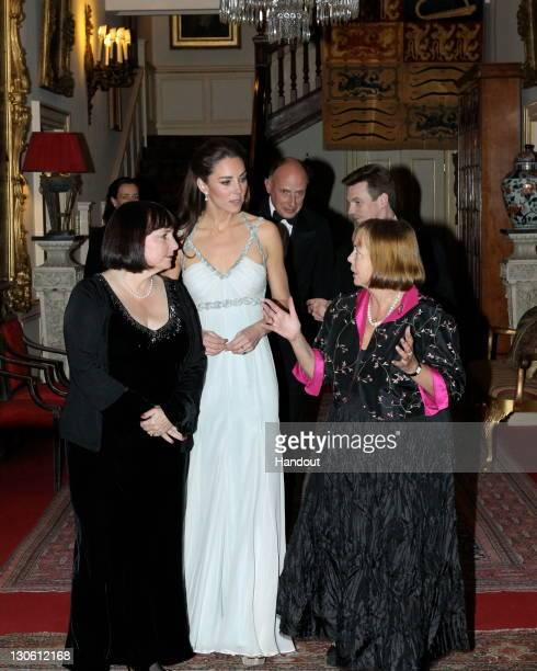 In this handout photo provided by Clarence House Catherine Duchess of Cambridge speaks to guests as she attends an event in support of the 'In Kind...