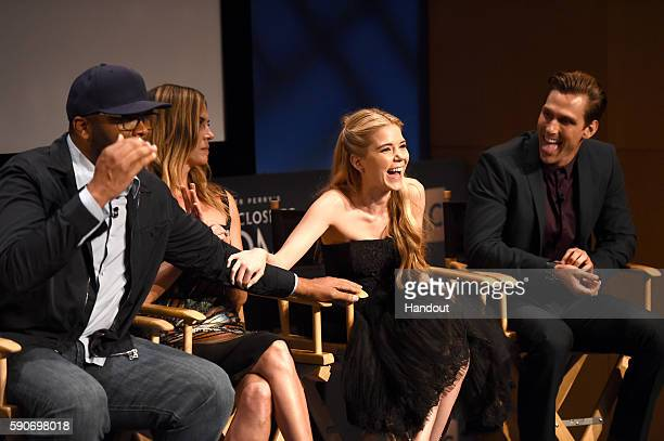 In this handout photo provided by Discovery Creator and producer Tyler Perry actors Kelly Sullivan Brooke Anne Smith and Brad Benedict speak onstage...