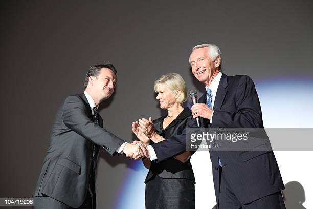 In this handout photo provided by Disney Jane Beshear Kentucky Governor Steve Beshear and filmmakers and cast attend the special screening of...