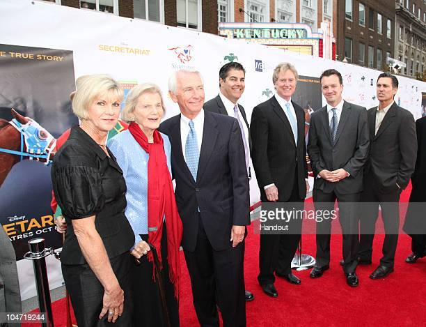 In this handout photo provided by Disney Jane Beshear Penny Chenery Kentucky Governor Steve Beshear Randall Wallace Mark Ciardi and filmmakers and...