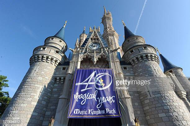 In this handout photo provided by Disney Parks a view of Cinderella's Castle in the Magic Kingdom during Walt Disney World Resort's 40th Anniversary...