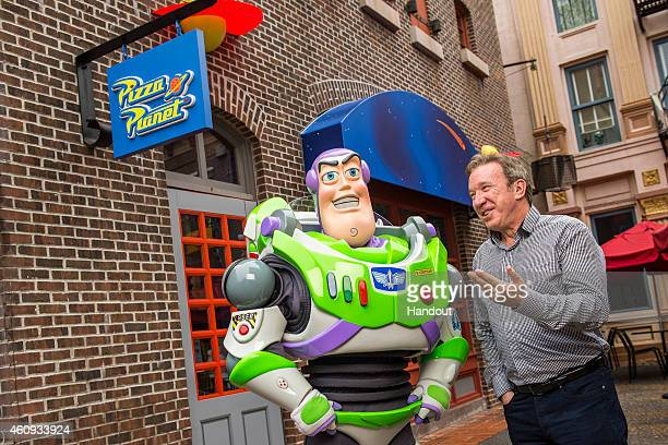 In this handout photo provided by Disney Parks actor and comedian Tim Allen the voice of Buzz Lightyear in the DisneyPixar Toy Story series of...