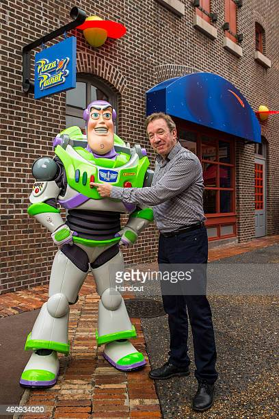In this handout photo provided by Disney Parks actor and comedian Tim Allen the voice of Buzz Lightyear in the DisneyPixar 'Toy Story' series of...