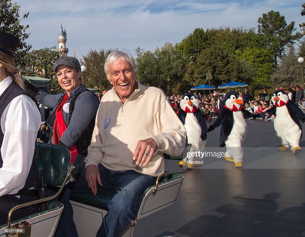 In this handout photo provided by Disney Parks, actor and Disney legend Dick Van Dyke and wife Arlene Silver Van Dyke celebrate his 90th birthday at Disneyland on December 13, 2015 in Anaheim, California.