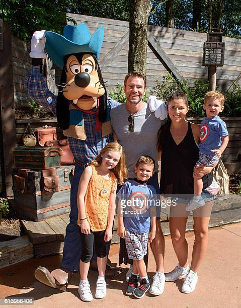 In this handout photo provided by Disney Parks Actor Scott Foley from ABC's 'Scandal' wife Marika Dominczyk and children Konrad 22 months Malina age...