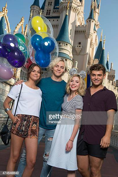 In this handout photo provided by Disney Parks, Actors Maia Mitchell, Ross Lynch, Grace Phipps and Garrett Clayton from the new Disney Channel film...