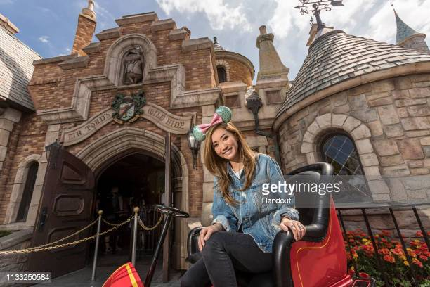 In this handout photo provided by Disney Parks actress Brenda Song celebrates her 31st birthday at Disneyland on March 27 2019 at Disneyland in...