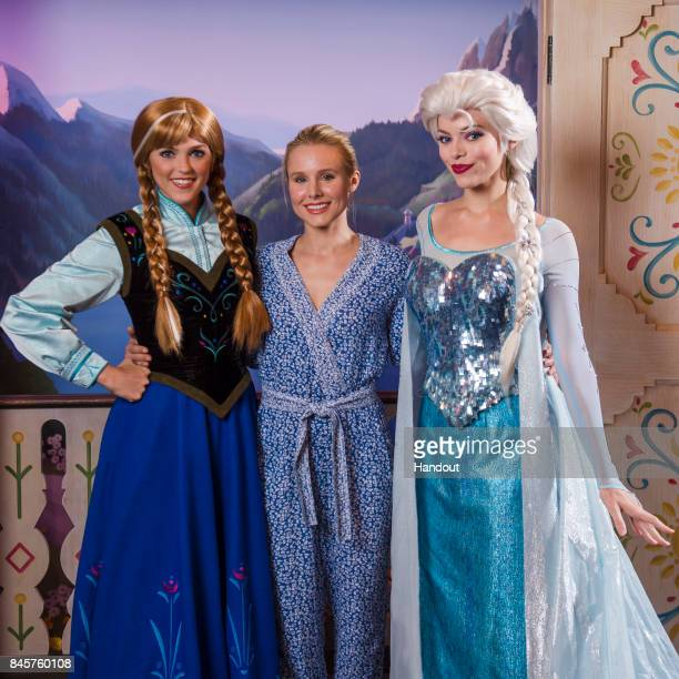 In this handout photo provided by Disney Parks Actress Kristen Bell visits Anna and Elsa of Disney's Frozen Thursday September 7 in the Norway...