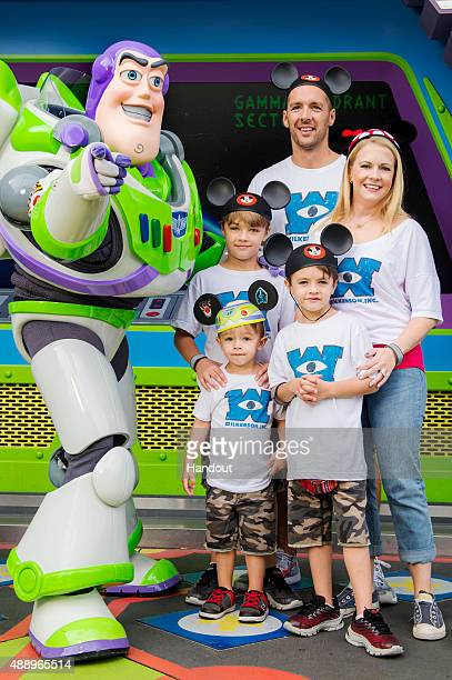 In this handout photo provided by Disney Parks, actress Melissa Joan Hart and husband singer-songwriter Mark Wilkerson , along with their sons Mason,...