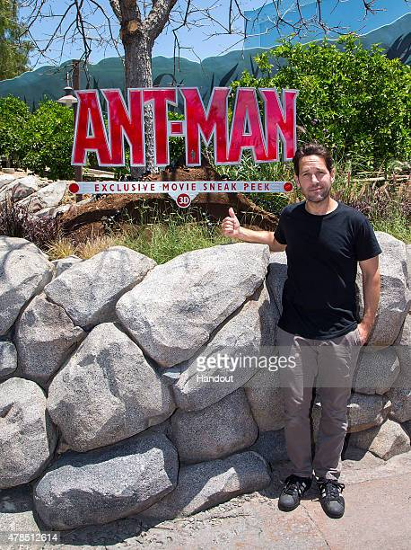 In this handout photo provided by Disney Parks 'AntMan' Star Visits Disneyland Resort actor Paul Rudd experiences the 'AntMan' exclusive sneak peek...