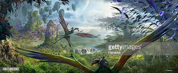 In this handout photo provided by Disney Parks AVATAR Flight of Passage at Disney's Animal Kingdom is seenThis Eticket attraction the centerpiece of...