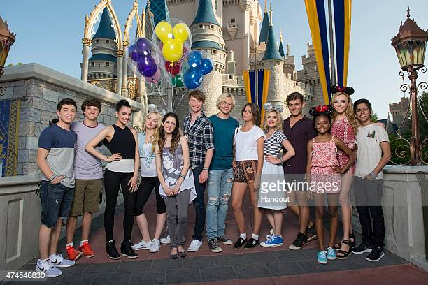 In this handout photo provided by Disney Parks Bradley Steven Perry Jake Short Sofia Carson Dove Cameron Laura Marano Calum Worthy Ross Lynch Maia...