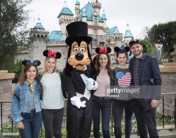 In this handout photo provided by Disney Parks 'Downton Abbey' costars Laura Carmichael Michelle Dockery and Michael Fox are joined by actors Kelly...