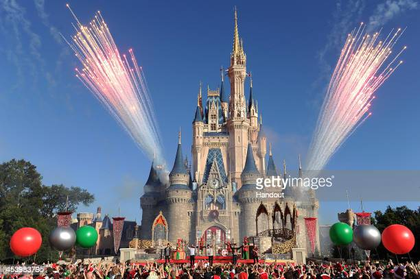 "In this handout photo provided by Disney Parks, English-Irish boy band The Wanted performs ""Santa Claus is Coming To Town"" while taping the Disney..."