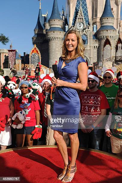 In this handout photo provided by Disney Parks Good Morning America coanchor Lara Spencer tapes a segment for the Disney Parks Christmas Day Parade...