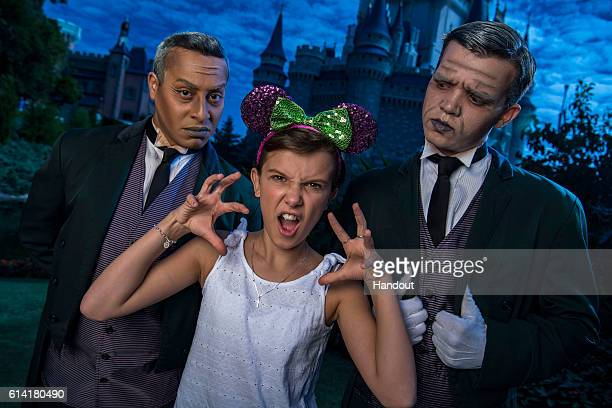 In this handout photo provided by Disney Parks Netflix's Stranger Things star Millie Bobby Brown known as Eleven a girl with super powers against...