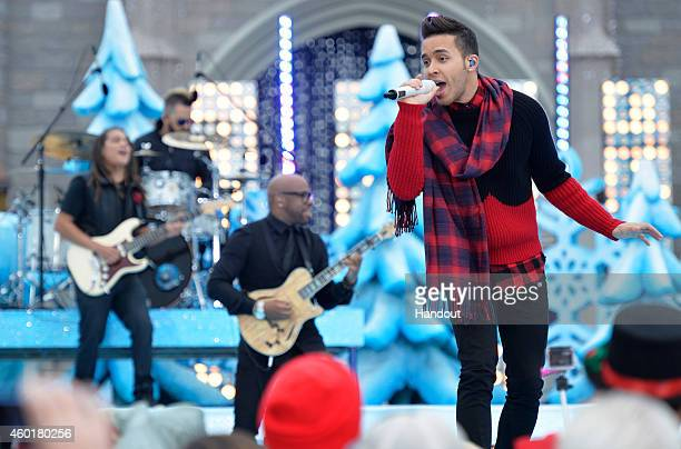 In this handout photo provided by Disney Parks Prince Royce performs Feliz Navidad during the taping of the Disney Parks Frozen Christmas Celebration...
