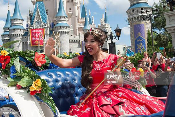 In this handout photo provided by Disney Parks Princess Elena of Avalor the first Latininspired Disney princess receives a royal welcome during her...