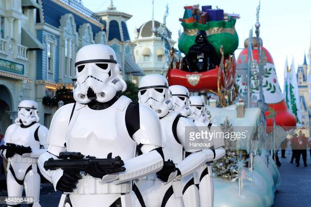 In this handout photo provided by Disney Parks Storm Troopers and Darth Vader participate in the Disney Parks Christmas Day Parade television special...