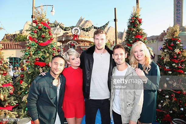 In this handout photo provided by Disney Parks The cast of ABC Family's 'Baby Daddy' Tahj Mowry Chelsea Kane Derek Theler JeanLuc Bilodeau and...