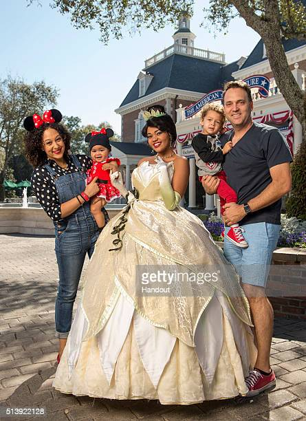 In this handout photo provided by Disney Parks 'The Real' talk show cohost Tamera MowryHousley daughter Ariah 8 months son Aden age 3 and husband...
