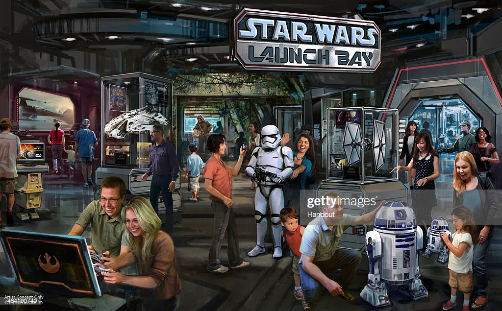 In this handout photo provided by Disney Parks, the Star Wars Launch Bay coming to Disneyland Resort and Walt Disney World Resort is seen. This interactive experience will take guests into the upcoming film, Star Wars: The Force Awakens, with special exhibits and peeks behind the scenes, including opportunities to visit with new and favorite Star Wars characters, special merchandise and food offerings. Star Wars Launch Bay will be located in the Animation Courtyard at Disney's Hollywood Studios and in Tomorrowland at Disneyland park.