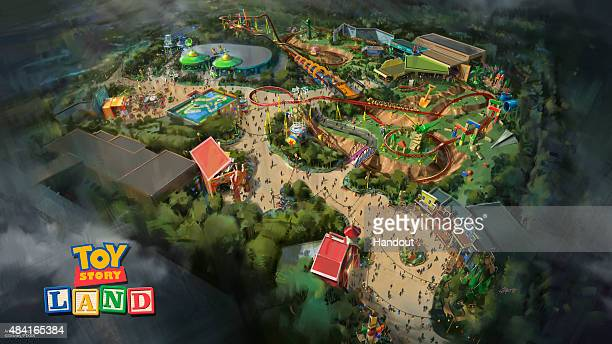 In this handout photo provided by Disney Parks Toy Story Land at Disney's Hollywood Studios in Florida is seen The reimagining of Disney's Hollywood...
