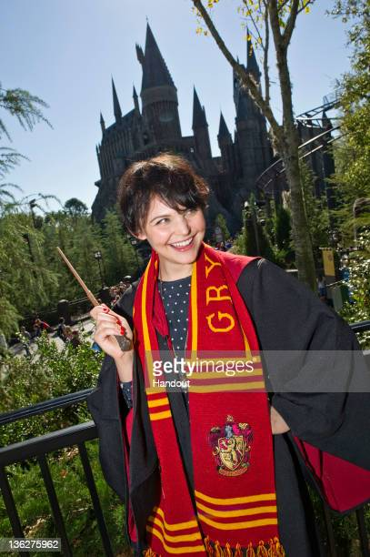 In this handout photo provided by Disney Parks Universal Orlando Resort hosted television and film actress Ginnifer Goodwin as she explored The...