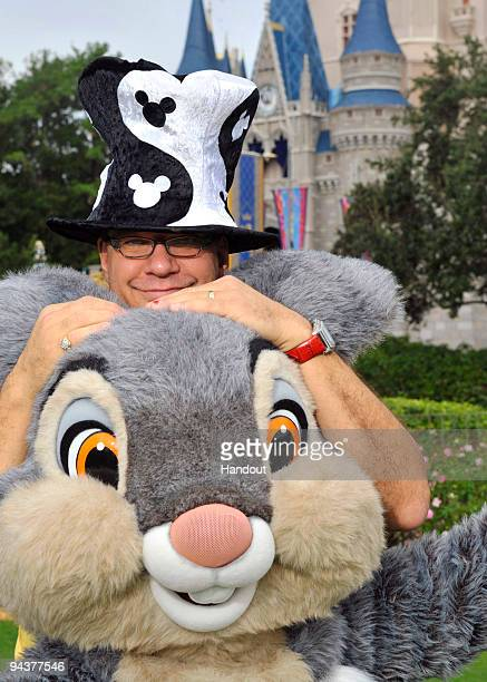 In this handout photo provided by Disney Penn Jillette onehalf of the illusionist/comedy duo 'Penn and Teller' poses with Thumper the rabbit from...