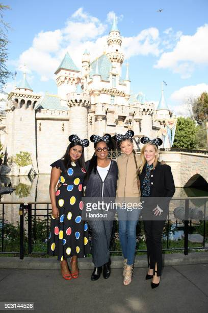 In this handout photo provided by Disney Resort actresses Mindy Kaling Oprah Winfrey Storm Reid and Reese Witherspoon visited the Disneyland Resort...