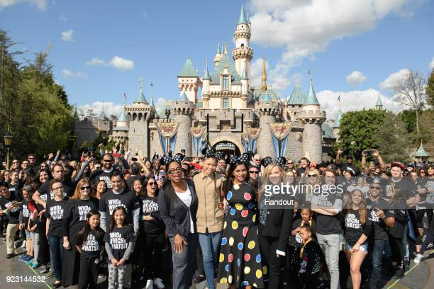 In this handout photo provided by Disney Resort actresses Oprah Winfrey Storm Reid Mindy Kaling and Reese Witherspoon visited the 'Happiest Place on...