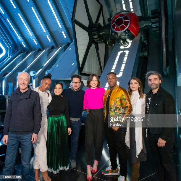 In this handout photo provided by Disney Resort, the cast of the upcoming film, Star Wars: The Rise of Skywalker, Anthony Daniels, Naomi Ackie, Kelly...