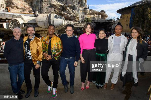 In this handout photo provided by Disney Resort the cast of the upcoming film Star Wars The Rise of Skywalker Anthony Daniels Oscar Isaac John Boyega...