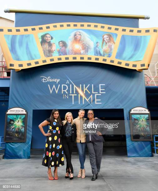 In this handout photo provided by Disney Resort the stars of Disney's upcoming film 'A Wrinkle in Time' visited the Disneyland Resort on February 22...