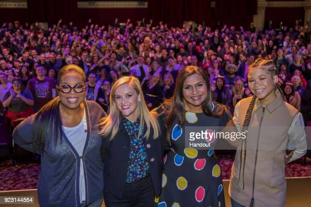 In this handout photo provided by Disney Resort the stars of Disney's upcoming film A Wrinkle in Time visited the Disneyland Resort on February 22...