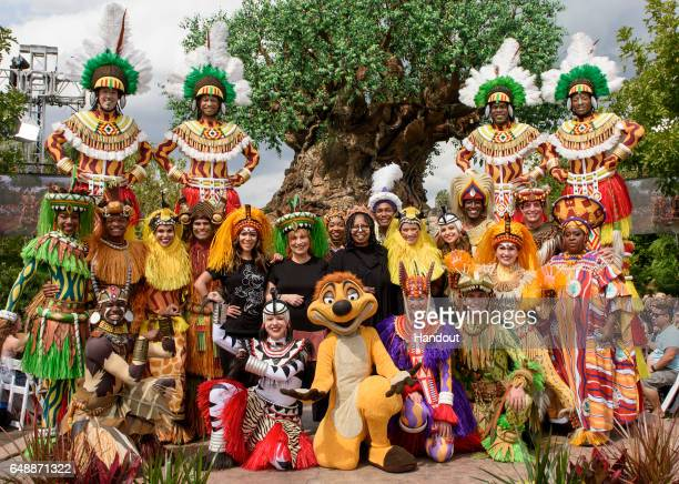 In this handout photo provided by Disney Resorts ABCs The View hosts Sunny Hostin Joy Behar Whoopi Goldberg Sara Haines and Jedediah Bila and the...