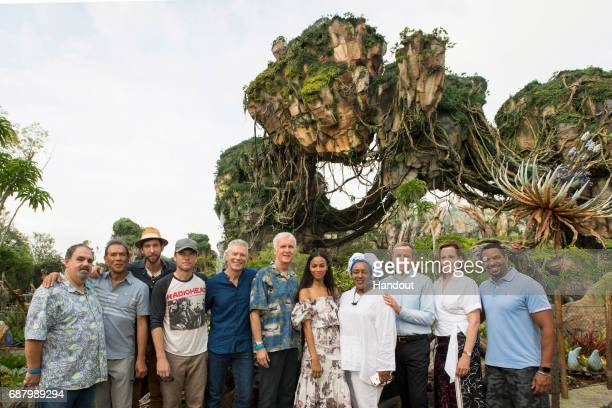 In this handout photo provided by Disney Resorts Jon Landau Wes Studi Joel David Moore Sam Worthington Stephen Lang James Cameron Zoe Saldana CCH...