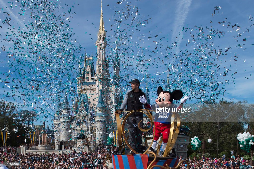 In this handout photo provided by Disney Resorts, Nick Foles of the Super Bowl LII winning team, the Philadelphia Eagles, celebrates in a Main Street parade at Walt Disney World on February 5, 2018 in Lake Buena Vista, Florida. This was the first Super Bowl win for the Philadelphia Eagles.
