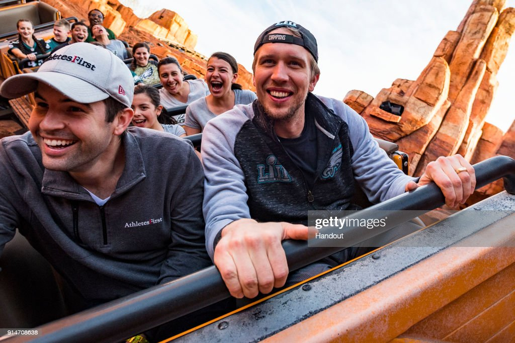In this handout photo provided by Disney Resorts, Nick Foles of the Super Bowl LII winning team, the Philadelphia Eagles, celebrates by riding on Big Thunder Mountain at Walt Disney World on February 5, 2018 in Lake Buena Vista, Florida. This was the first Super Bowl win for the Philadelphia Eagles.