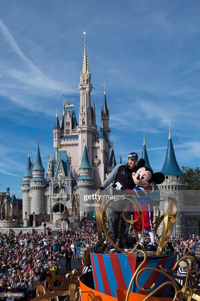 In this handout photo provided by Disney Resorts, Nick Foles of the Super Bowl LII winning team, the Philadelphia Eagles, celebrates at Walt Disney World on February 5, 2018 in Lake Buena Vista, Florida. This was the first Super Bowl win for the Philadelphia Eagles.