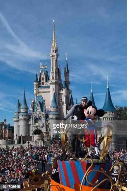 In this handout photo provided by Disney Resorts Nick Foles of the Super Bowl LII winning team the Philadelphia Eagles celebrates at Walt Disney...