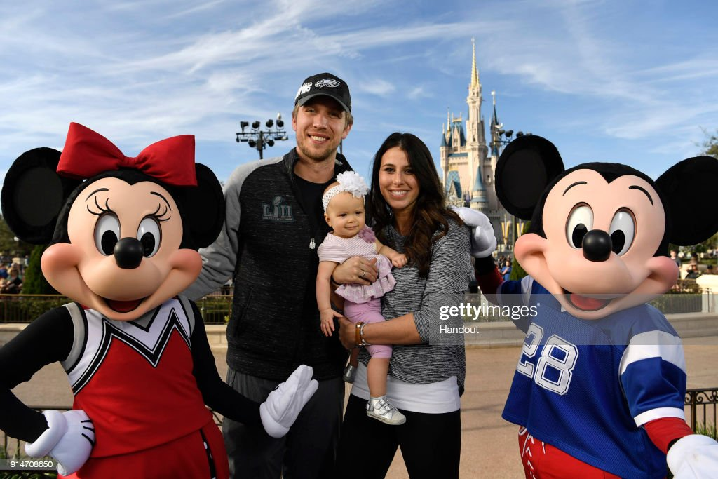 In this handout photo provided by Disney Resorts, Nick Foles of the Super Bowl LII winning team, the Philadelphia Eagles with his wife Tori Foles and their daughter Lily Foles , celebrate at Walt Disney World on February 5, 2018 in Lake Buena Vista, Florida. This was the first Super Bowl win for the Philadelphia Eagles.