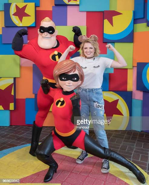 In this handout photo provided by Disneyland Resort Newly crowned American Idol winner Maddie Poppe visited with Mr and Mrs Incredible during Pixar...