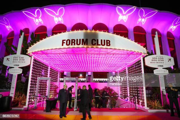 In this handout photo provided by Forum Photos The Forum celebrated Ariana Grande's Dangerous Woman show at the venue by projecting huge custom Gobos...
