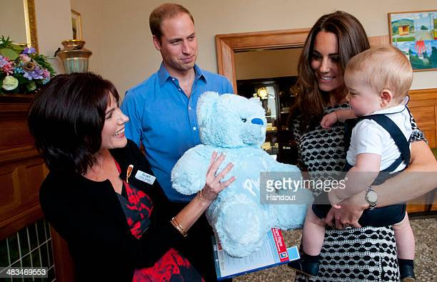 In this handout photo provided by Government House NZ, Prince William, Duke of Cambridge, Catherine, Duchess of Cambridge and Prince George of...