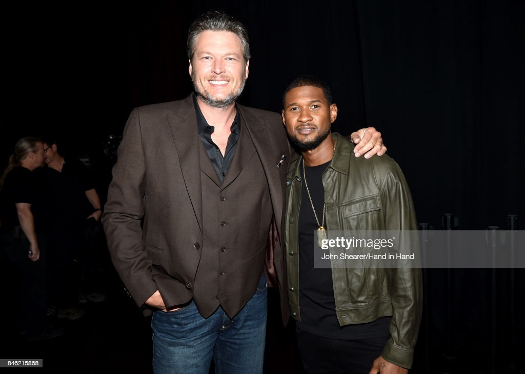In this handout photo provided by Hand in Hand, Blake Shelton and Usher attend Hand in Hand: A Benefit for Hurricane Relief at the Grand Ole Opry House on September 12, 2017 in Nashville, Tennessee.