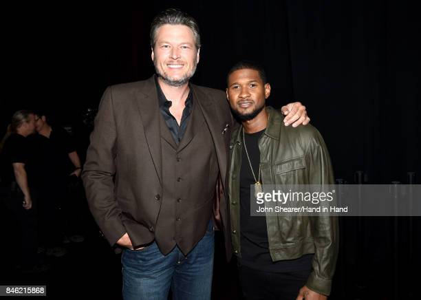 In this handout photo provided by Hand in Hand Blake Shelton and Usher attend Hand in Hand A Benefit for Hurricane Relief at the Grand Ole Opry House...