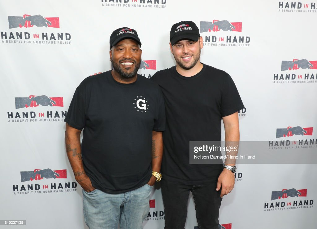 In this handout photo provided by Hand in Hand, Bun B and Scooter Braun attend Hand in Hand: A Benefit for Hurricane Relief at Universal Studios AMC on September 12, 2017 in Universal City, California.