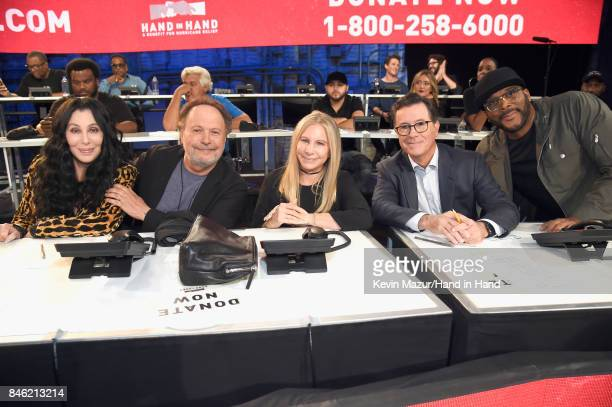 In this handout photo provided by Hand in Hand Cher Billy Crystal Barbra Streisand Stephen Colbert and Tyler Perry attend Hand in Hand A Benefit for...