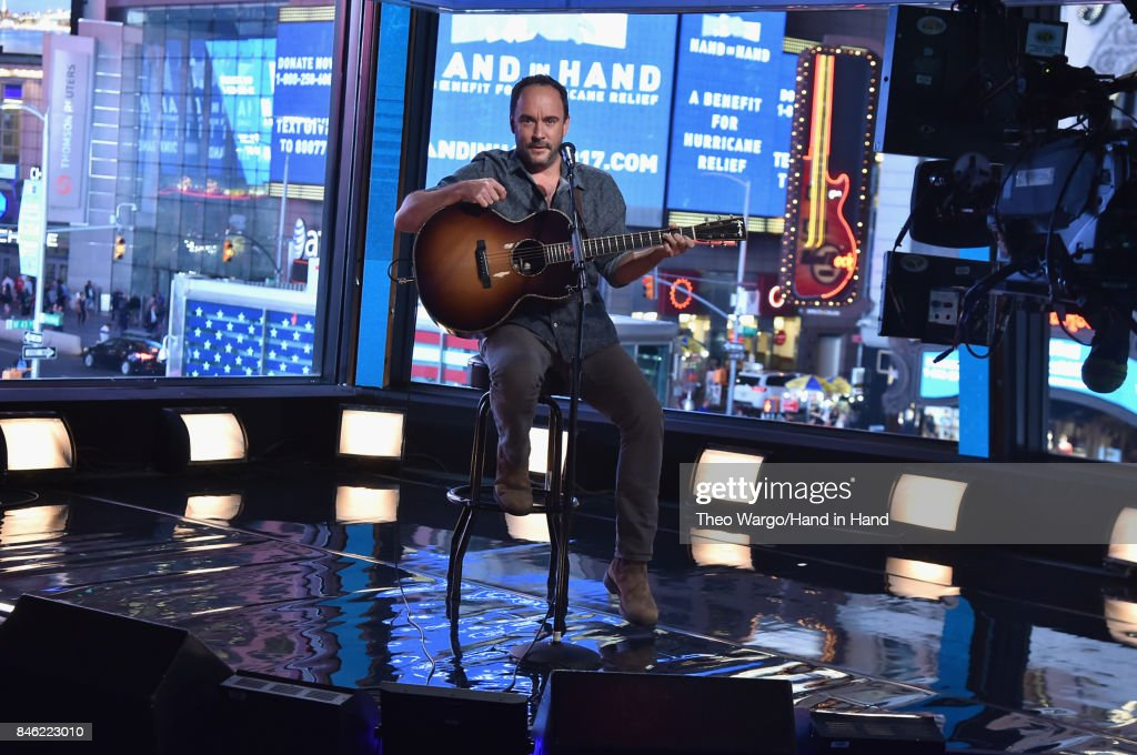 In this handout photo provided by Hand in Hand, Dave Matthews attends Hand in Hand: A Benefit for Hurricane Relief at ABC News' Good Morning America Times Square Studio on September 12, 2017 in New York City.